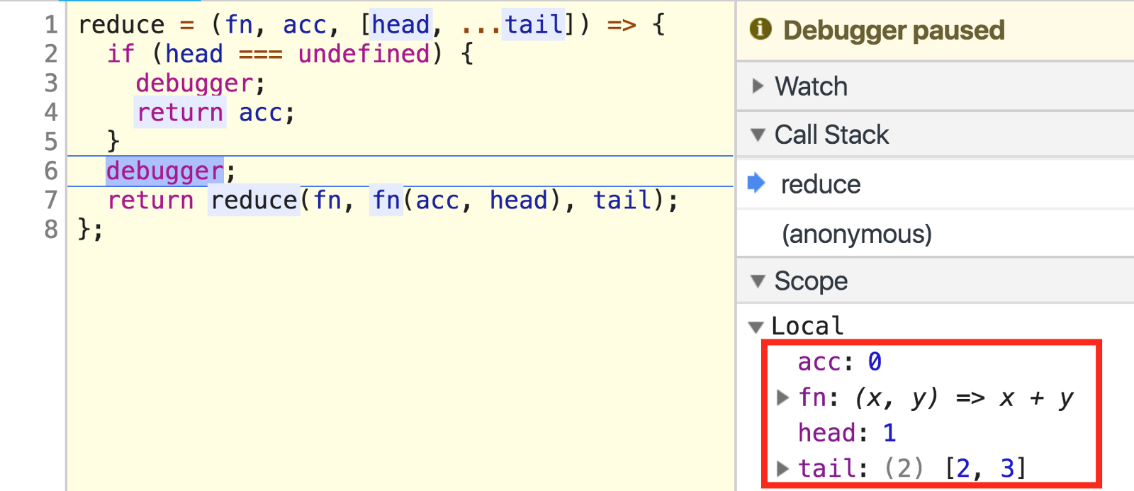 How to implement map, filter, and reduce with recursion