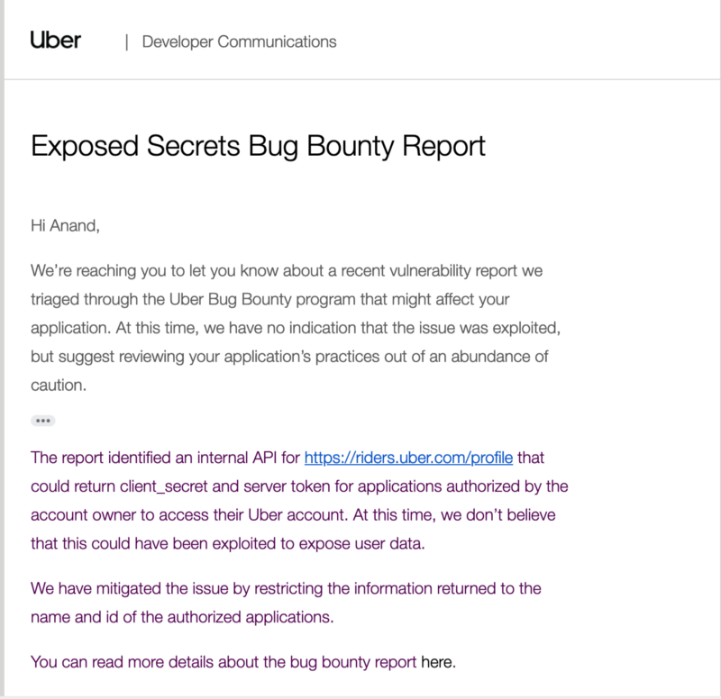 Bounty report: how we discovered Uber's developer applications were leaking client secret and…