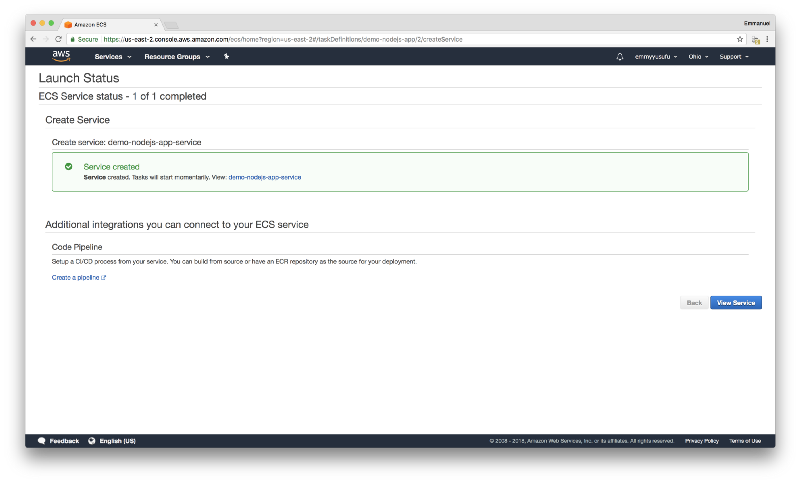 How to deploy a Node js application to Amazon Web Services using Docker