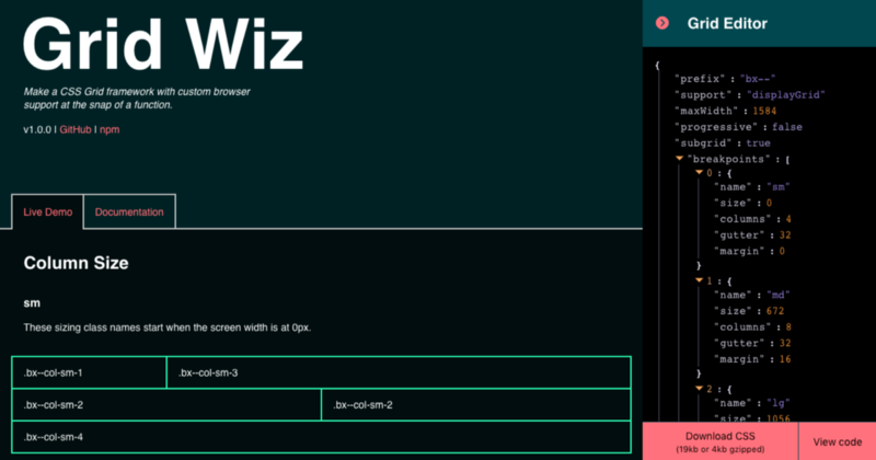 Introducing Grid Wiz: Make a CSS grid framework with custom browser support at the snap of a…