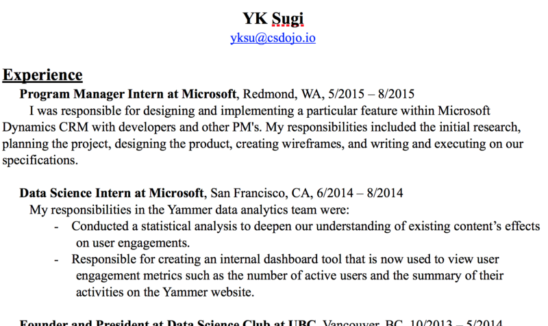 Here's the resume I used to get a job at Google as a software engineer