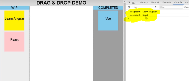 React js: implement the drag and drop feature without using