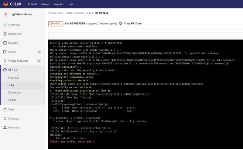 How to setup CI on GitLab using Docker