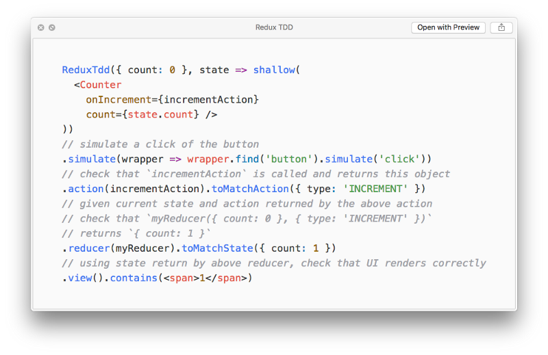 Test-Driven Development with React and Redux, using Redux TDD