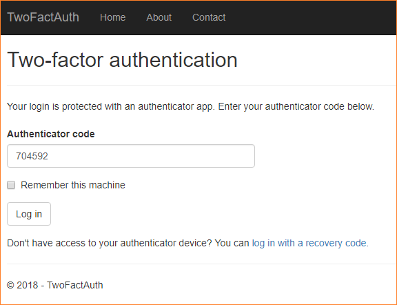 How to set up two factor authentication in ASP NET Core
