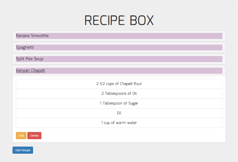 How to build freeCodeCamp's recipe box using React and local storage