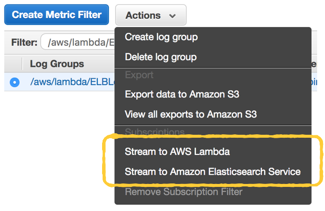 How to implement log aggregation for AWS Lambda