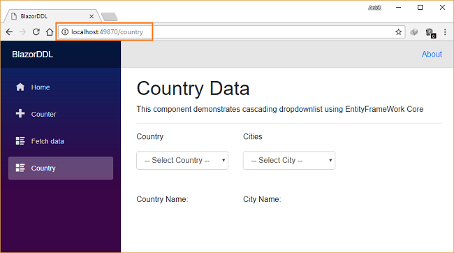 How to create a cascading DropDownList in Blazor using EF Core