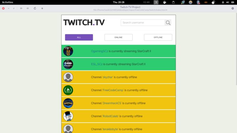 Building a TwitchTV Status App