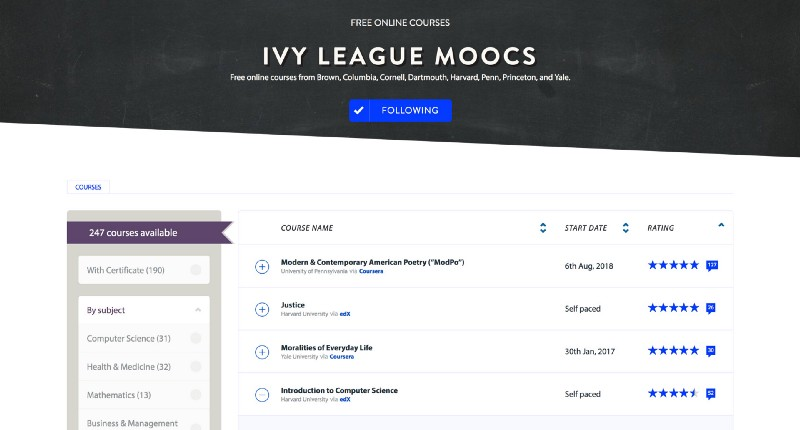 Here are 330 Ivy League courses you can take online right