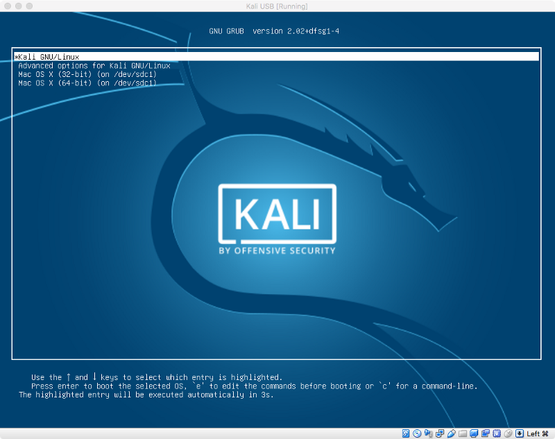 How to install Kali on a USB stick with pure EFI boot on a