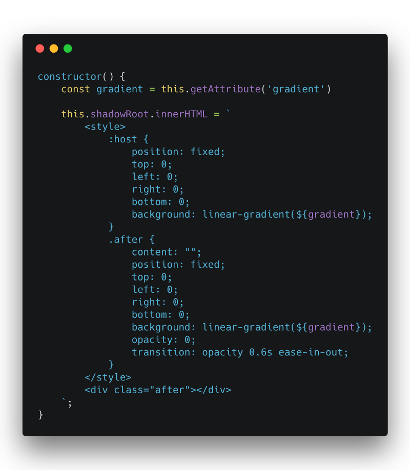 How to use web components to create gradient transitions