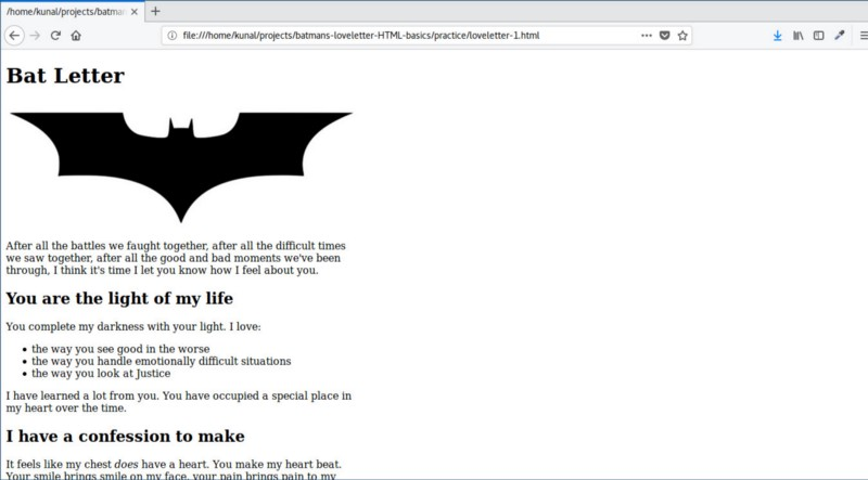 For your first HTML code, let's help Batman write a love letter