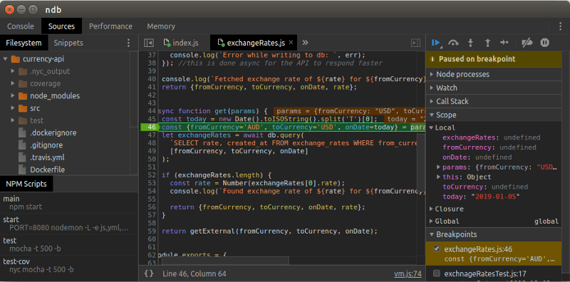 How to get started debugging NodeJS applications with ndb